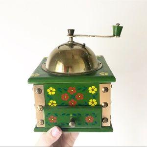 Vintage Wooden Green Floral Painted Coffee Grinder
